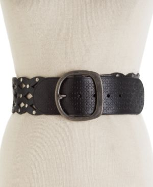 Fossil Belt, Wide Perforated Leather