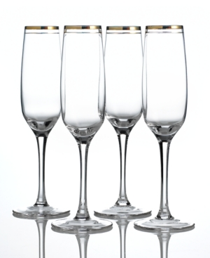 Charter Club Flutes, Set of 4 Gold Double Band