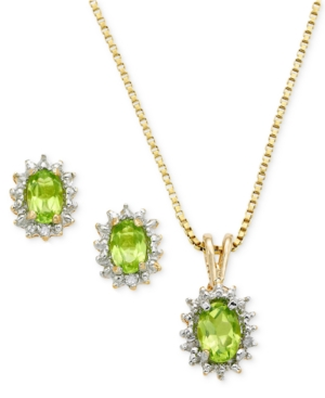 Victoria Townsend 18k Gold Over Sterling Silver Earrings and Pendant Set, Peridot (1-3/4 ct. t.w.) and Diamond Accent Oval