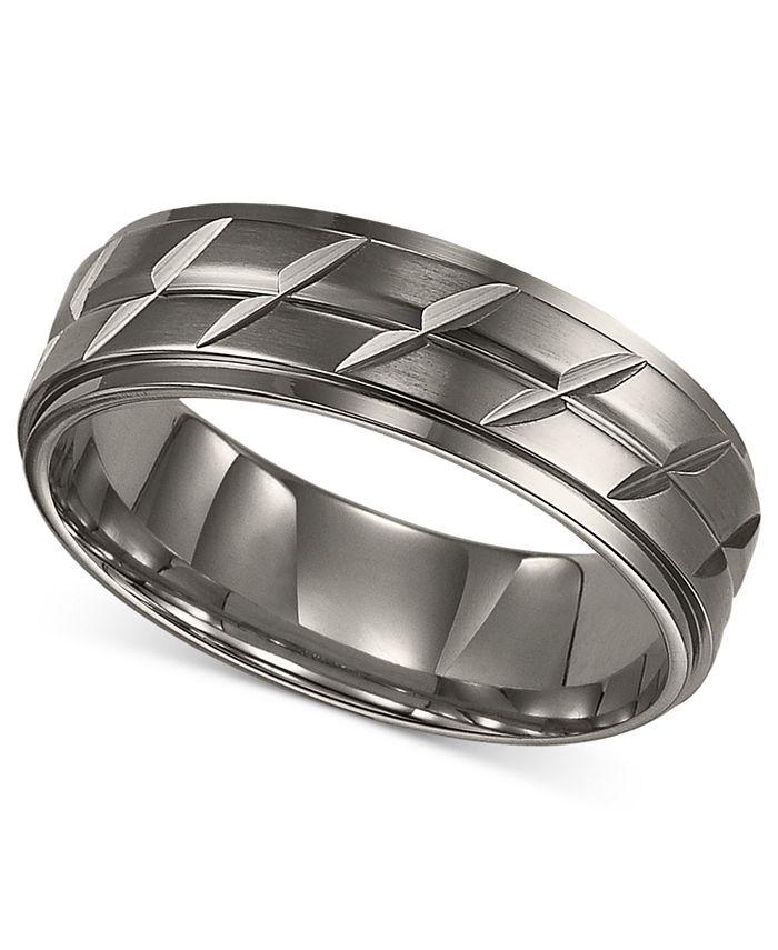 Triton - Men's Titanium Ring, Etched Wedding Band