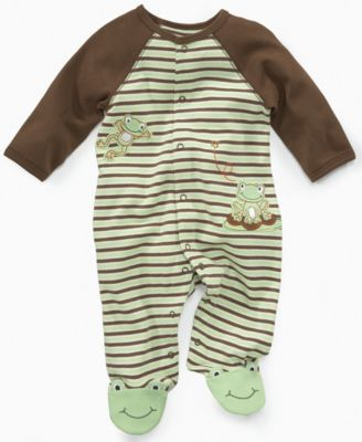 Little Me Baby Coveralls Baby Boys Frog Footed Coveralls