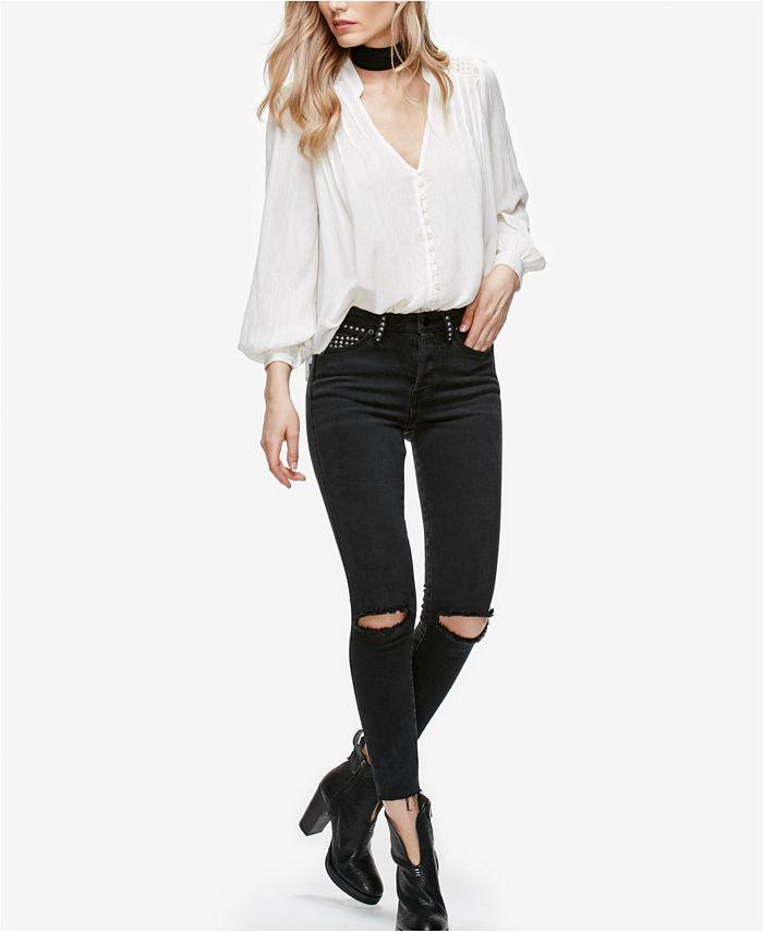 Free People - Payton Black Wash Studded Skinny Jeans