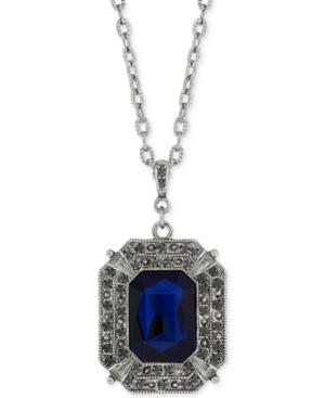 Victorian Costume Jewelry 2028 Hematite-Tone Blue Stone Pendant Necklace $12.60 AT vintagedancer.com