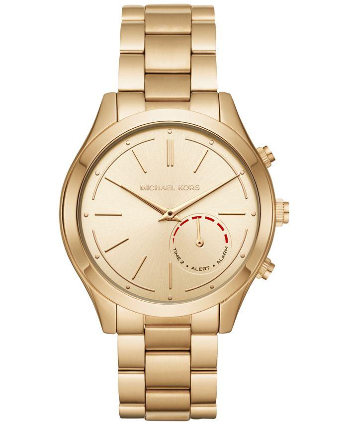 Michael Kors - Women's Slim Runway Hybrid Gold-Tone Stainless Steel Bracelet Smart Watch 42mm MKT4002