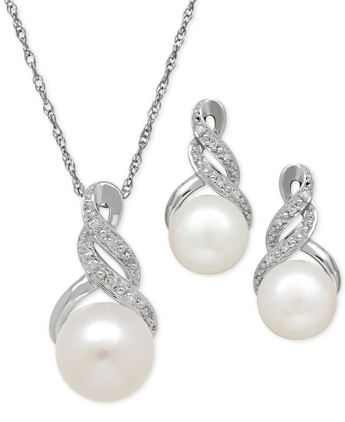 Macy's - Cultured Freshwater Pearl (8 & 9mm) and Diamond Accent Pendant Necklace and Matching Stud Earrings Set in Sterling Silver or 14k Gold Over Silver