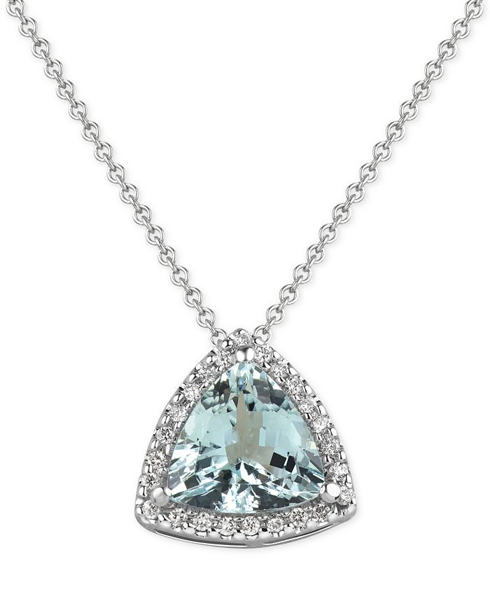 Macy's - Aquamarine (1-1/2 ct. t.w.) and Diamond (1/8 ct. t.w.) Pendant Necklace in 14k White Gold