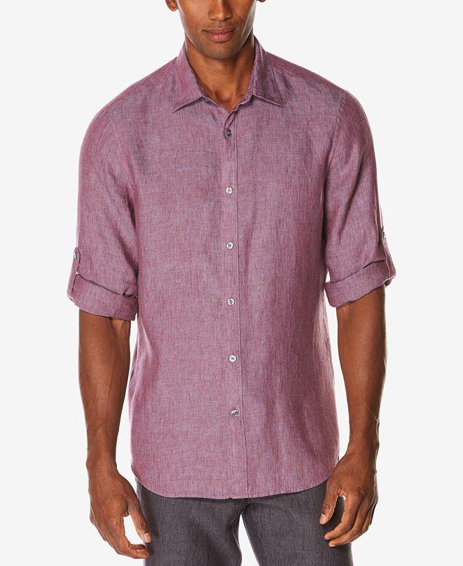 Perry Ellis Men's Linen Roll Tab Shirt