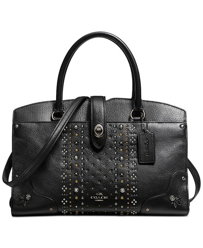 COACH - Bandana Rivets Mercer Satchel 30 in Polished Pebble Leather