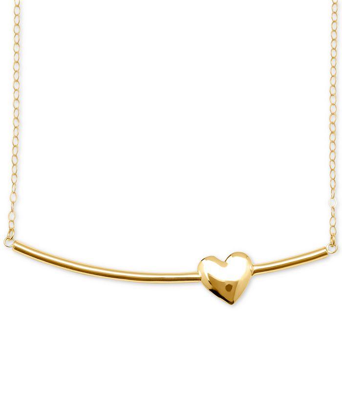 Macy's - Heart Bar Pendant Necklace in 10k Gold