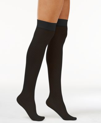 Hue Womens Tipped Net Over-The-Knee Socks