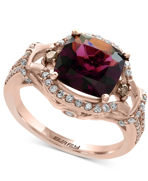 Effy Final Call Rhodolite Garnet (3-3/8 ct. t.w.) and Diamond (1/2 ct. t.w.) Ring in 14k Rose Gold
