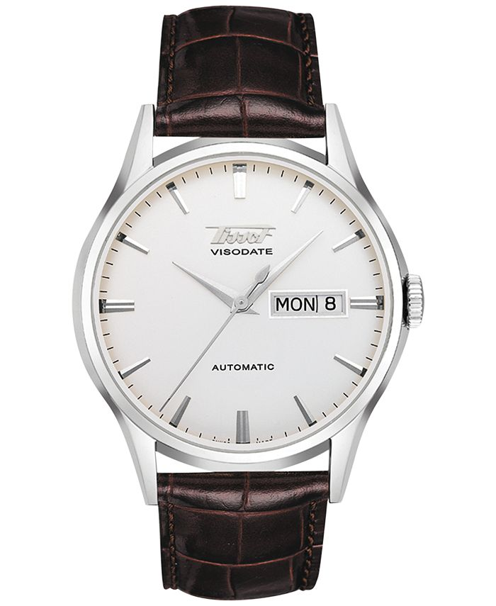 Tissot - Men's Swiss Automatic Heritage Visodate Brown Leather Strap Watch 39mm T0194301603101