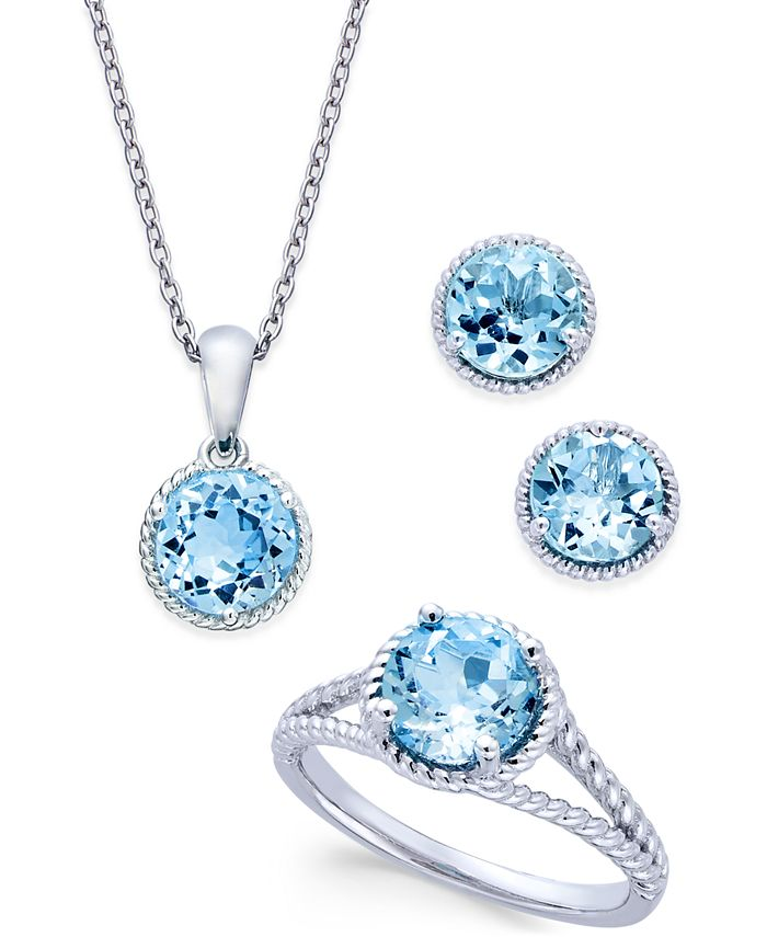 Macy's - Blue Topaz Rope-Style Pendant Necklace, Stud Earrings and Ring Set (5 ct. t.w.) in Sterling Silver