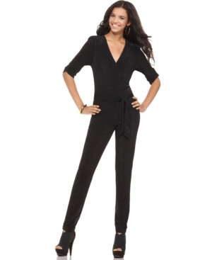 Apple Bottoms Jumpsuit, Short Sleeve V-Neck Tie Studded Skinny