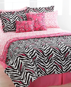 Zenia Zebra 10 Piece Queen Reversible Comforter Set Bedding