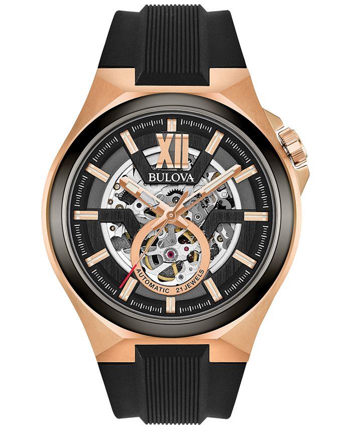 Bulova - Men's Automatic Black Silicone Strap Watch 46mm 98A177