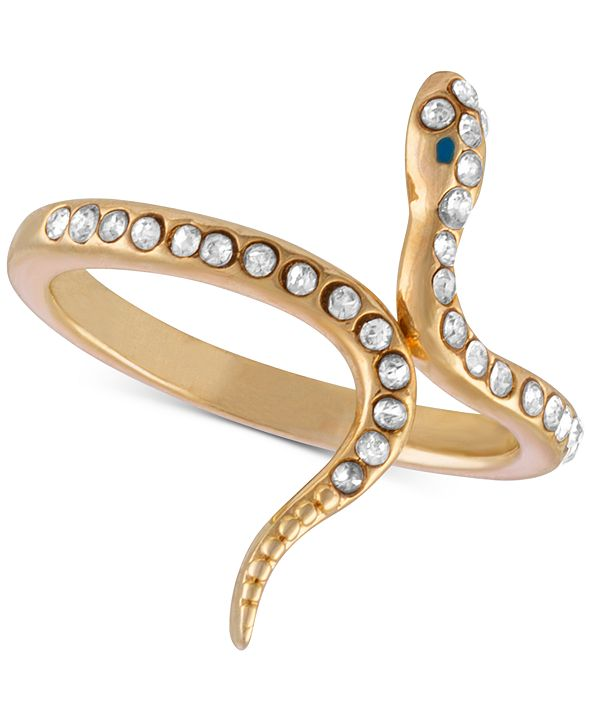 RACHEL Rachel Roy Gold-Tone Crystal Studded Snake Ring