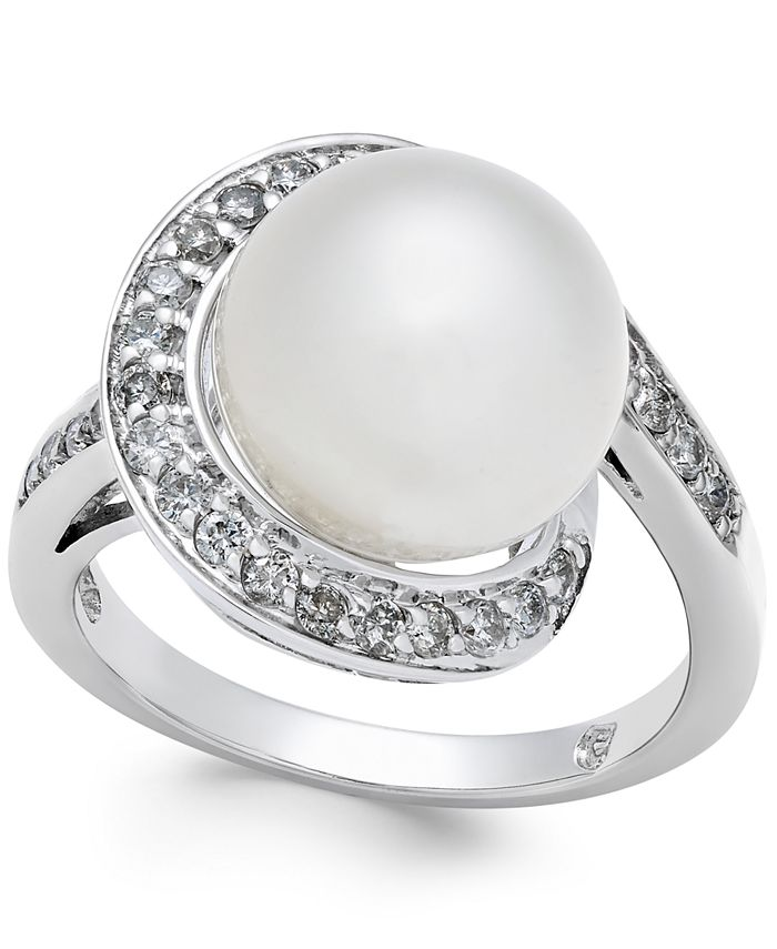 Macy's - Cultured South Sea Pearl (11mm) and Diamond (3/8 ct. t.w.) Ring in 14k White Gold