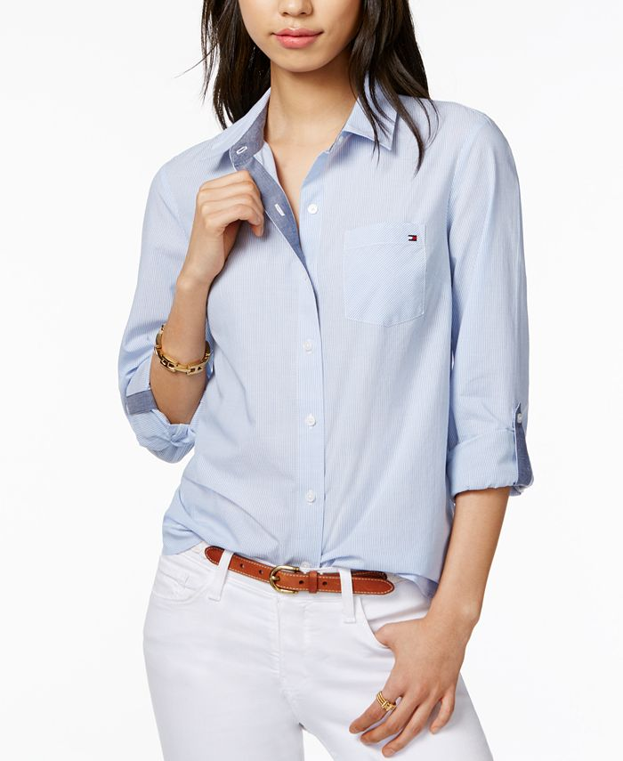 Tommy Hilfiger - Cotton Pinstripe Logo Shirt