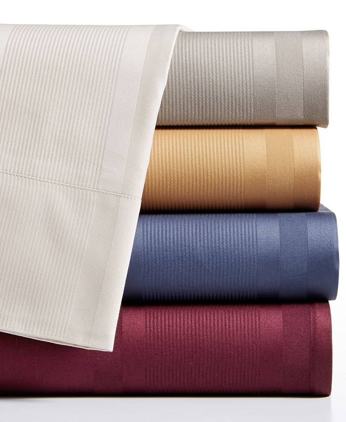 Sunham - Cotton 400 Thread Count 4-Pc. Dobby Stripe Queen Sheet Set