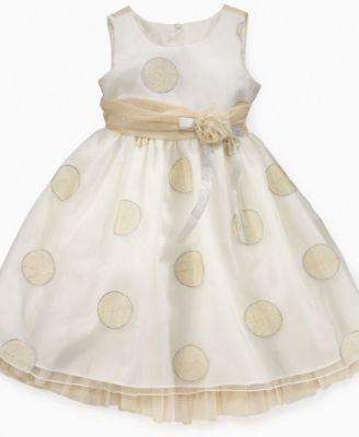 Bonnie Jean Kids Dress, Girls Gold Polka Dot Dress