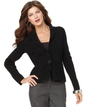 Jones New York Signature Jacket, Three Button Blazer