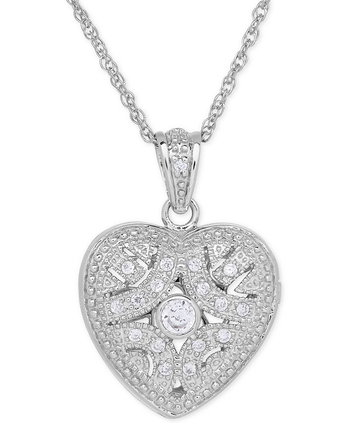 Macy's - Cubic Zirconia Heart Locket Pendant Necklace in Sterling Silver