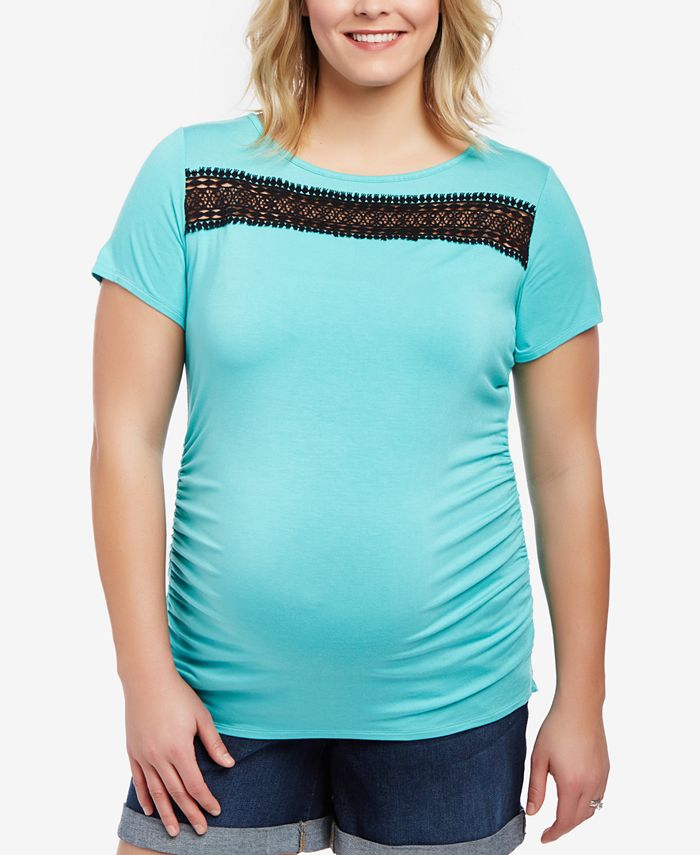 Motherhood Maternity - Maternity Plus Size Lace-Trim T-Shirt