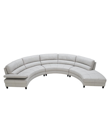 Franchesca leather sectional sofa 3 piece loveseat for Armless sectional sofa chaise