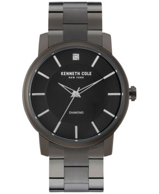 Kenneth Cole New York Mens Diamond Accent Black Ion-Plated Stainless Steel Bracelet Watch 44mm KC9286