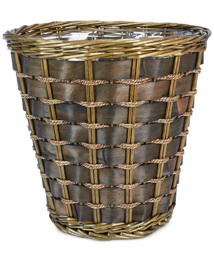 Household Essentials - Medium Wicker Lined Waste Basket