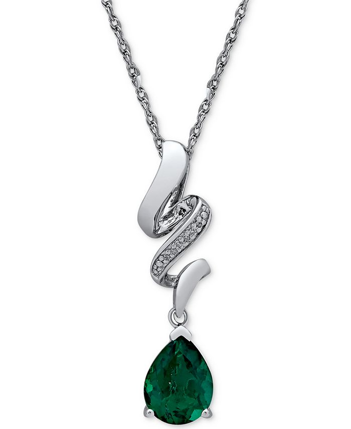 Macy's - Lab Created Emerald (1-5/8 ct. t.w.) & Diamond Accent Pendant Necklace in Sterling Silver