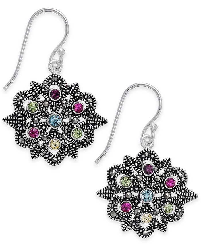 Macy's - Marcasite & Colored Crystal Openwork Drop Earrings in Silver-Plate