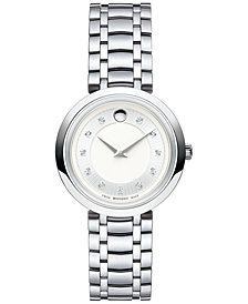 Movado Women's Swiss Diamond-Accent 1881 Quartz Stainless Steel Bracelet Watch 28mm