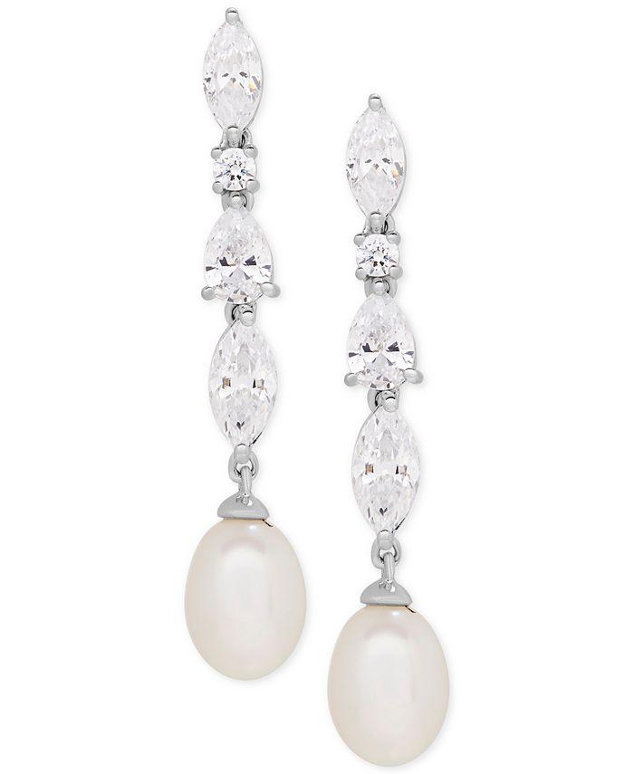 Arabella - Cultured Freshwater Pearl (7 x 9mm) and Swarovksi Zirconia Drop Earrings in Sterling Silver