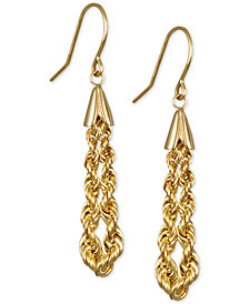 Rope Chain Drop Earrings in 10k Gold