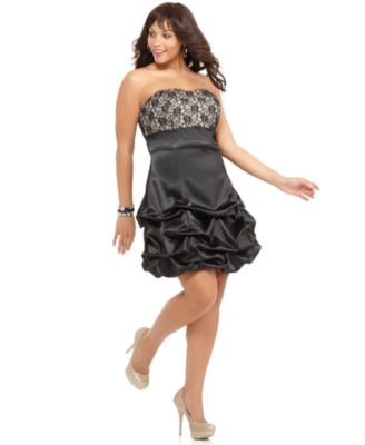 Ruby Rox Plus Size Prom Dress, Strapless Lace Ruffled Empire
