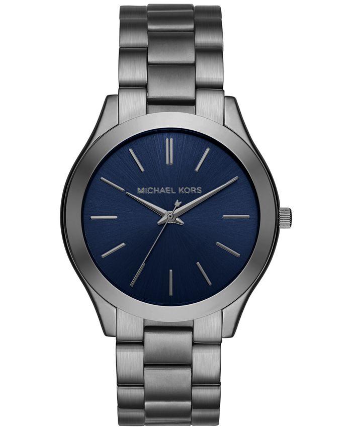 Michael Kors - Men's Slim Runway Gunmetal-Tone Stainless Steel Bracelet Watch 44mm MK8584