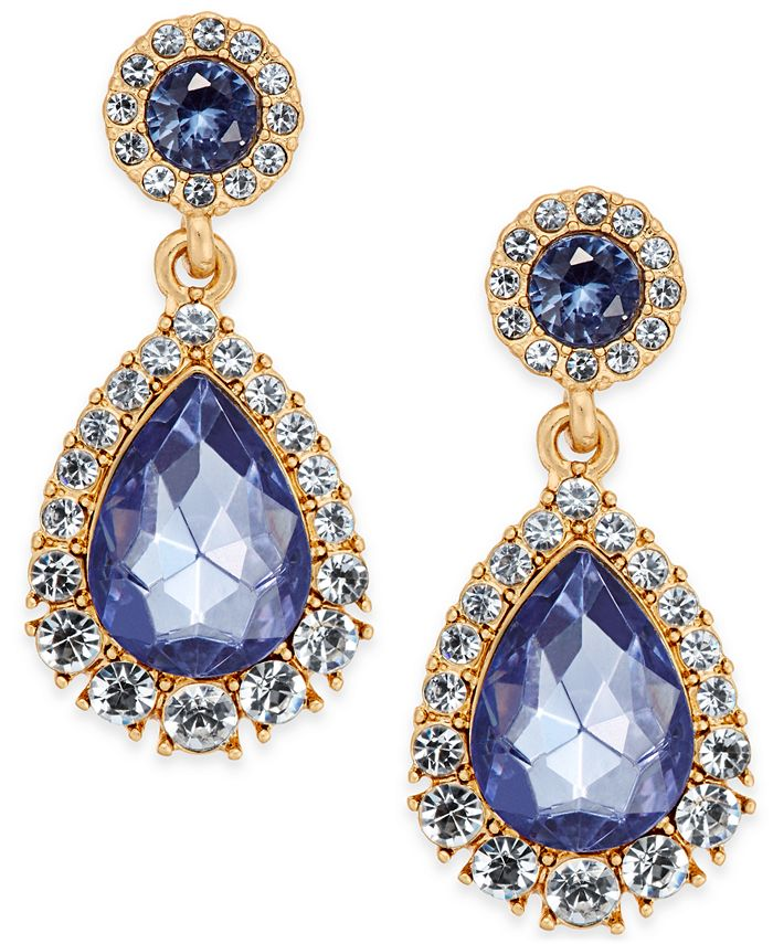 Charter Club - Gold-Tone Crystal & Purple Stone Drop Earrings