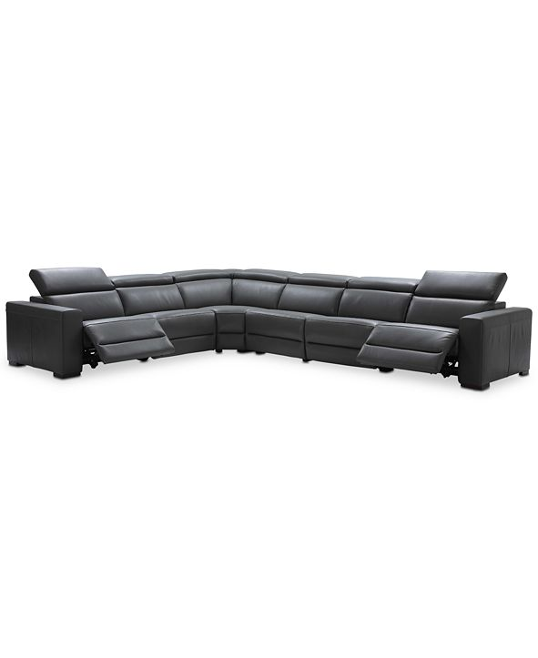 "Furniture Nevio 6-pc Leather ""L"" Shaped Sectional Sofa with 2 Power Recliners and Articulating Headrests, Created for Macy's"