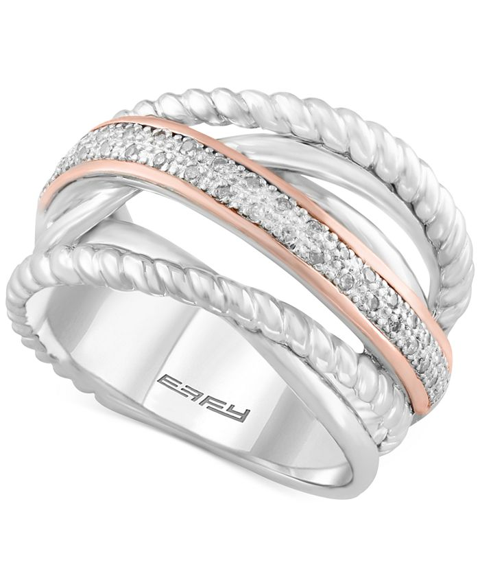 EFFY Collection - Diamond Rope Twist Ring (1/10 ct. t.w.) in Sterling Silver and 14k Rose Gold
