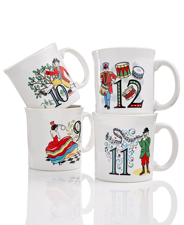 Fiesta - Twelve Days of Christmas Set of 4 Mugs, Third series in a series of Three