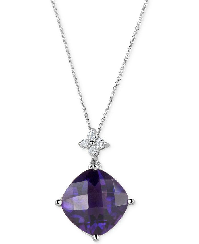 Macy's - Amethyst (5 ct. t.w.) & Diamond (1/10 ct. t.w.) Pendant Necklace in 14k White Gold