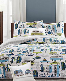 INK+IVY Kids Road Trip Reversible 4-Pc. Quilted Full/Queen Coverlet Set