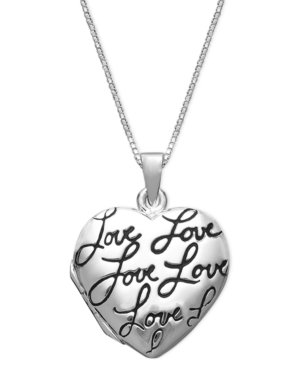 Sterling Silver Necklace, Love Heart Locket