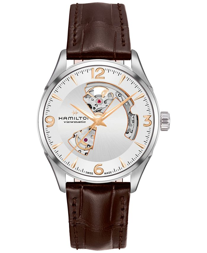 Hamilton - Men's Swiss Automatic Jazzmaster Brown Leather Strap Watch 42mm