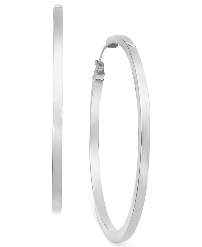 Macy's - 14k White Gold Earrings, Hoop