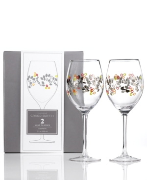 Charter Club Glassware, Set of 2 Novelty Confetti Wine Glasses
