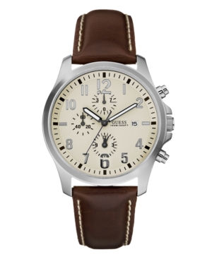 GUESS Watch, Men's Chronograph Brown Leather Strap 40mm U11638G2