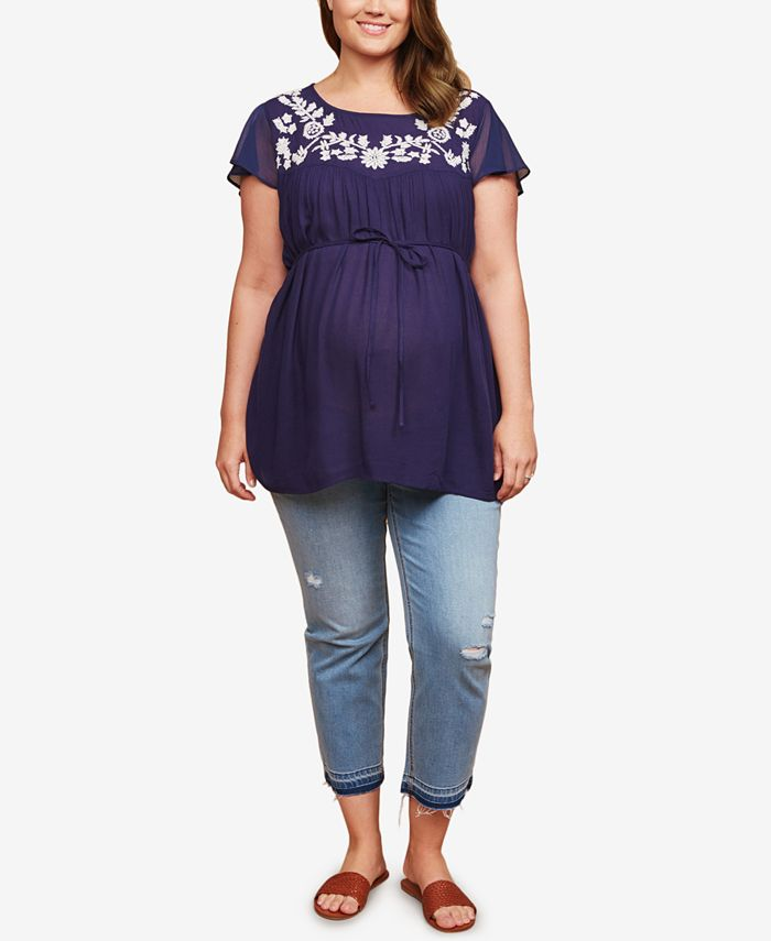 Jessica Simpson - Maternity Plus Size Destructed Skinny Ankle Jeans